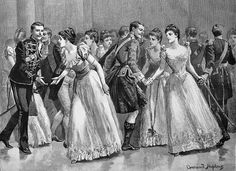 "A new year ball The Ladies' chain by Everard Hopkens ""The Illustrated london news"" 1891 Jan 24 Victorian Illustration, News Magazines, Statue, London, Lady, Inspiration, Police, India, Paintings"