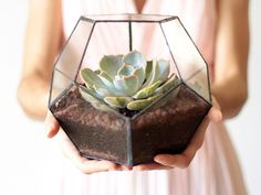A gorgeous geometric terrarium by Waen via etsy.  The succulent could easily be replaced by tea light candles or whatever speaks to your décor. #terrarium #reception #weddingdecor