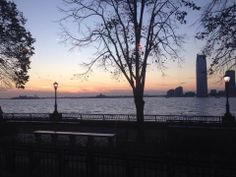 Our beautiful view of the sunset over the Hudson River.