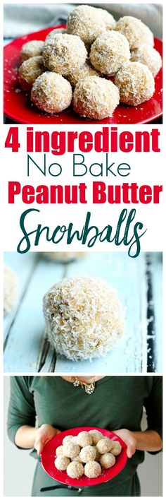 No-Bake Peanut Butter Snowballs Recipe. This is a healthy No-bake christmas cookie recipe. If you are looking for a healthy, gluten-free, no refined sugar holiday treat, this is it. via Flaherty healthy christmas baking Healthy Christmas Cookies, Holiday Treats, Holiday Recipes, Holiday Foods, Holiday Cookies, Christmas Recipes, Whole Food Recipes, Snack Recipes, Dessert Recipes