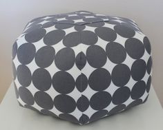 """Ottoman Pouf Floor Pillow Dotscape Charcoal. 18"""" Ottoman Pouf Floor Pillow Dotscape in Charcoal and Ivory.    Need something fun and unique for your home? Try an ottoman pouf floor pillow! It's such a versatile piece and of course, kid-friendly! It's perfect for relaxing in your living room, bedroom, kids playroom, or nursery. #NurseryDecor #HomeDecor #CharcoalandWhite #ottoman #handmade #madeinusa #Americanmade www.aftcra.com"""