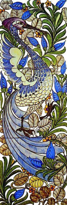 Fantastic Bird tile design by William De Morgan for Morris & Co.