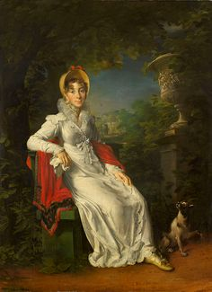 H.R.H. Princess Marie Caroline of Bourbon, Duchess of Berry, née Princess of Two-Sicilies (1798-1870), in the gardens of the Château de Bagatelle in the Bois de Boulogne, by Baron Gérard, 1820 | Marie-Caroline de Bourbon-Sicile, duchesse de Berry was an Italian princess of the House of Bourbon who married into the French royal family, and was the mother of Henri, Count of Chambord.