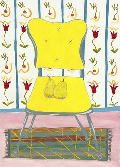 'A Pair of Pears On a Bright Yellow Chair' by Shelley Savor