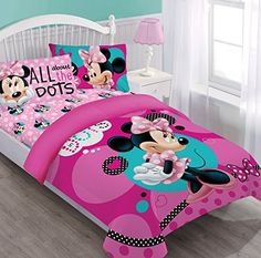 Disney Minnie Dreaming in Dots juvenile twin comforter set. comforter by fitted sheet by standard pillowcase by Comforter set fabric content: polyester;