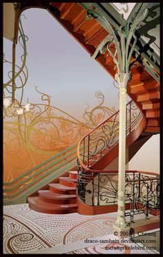 El hueco de la escalera de Victor Horta en la Borla de Hotel en Bélgica