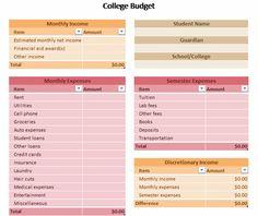 College Student Budget Worksheet   College   Pinterest   College ...