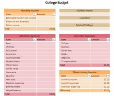 College Budget Template for Excel