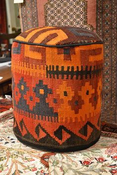 Rug Sitting Stool / Rug Ottoman / Kilim Sitting by OakParkAntiques Textiles, Kilim Ottoman, Prayer Rug, Southwestern Style, Soft Furnishings, Bohemian Decor, Persian Rug, Rugs On Carpet, Decorative Items