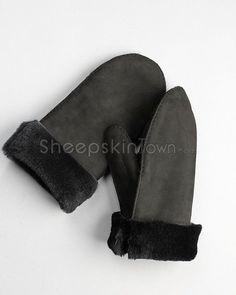 Men's Black Shearling Sheepskin Roll Up Cuff Mittens Mitten Gloves, Mittens, Sheepskin Gloves, Canadian Winter, Winter Accessories, Stay Warm, Leather, Black, Fashion