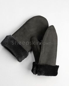 Men's Black Shearling Sheepskin Roll Up Cuff Mittens
