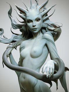 Sea creature, Maria Panfilova on ArtStation at https://www.artstation.com/artwork/wXoLL