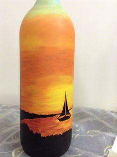 Cobalt blue bottles available. Painted Glass Bottles, Glass Bottle Crafts, Wine Bottle Art, Lighted Wine Bottles, Diy Bottle, Jar Art, Bottle Painting, Alcohol Bottles, Plastic Bottles