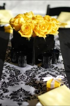 Pretty flowers at a Bumble Bee Baby Shower!   See more party ideas at CatchMyParty.com!  #partyideas #babyshower