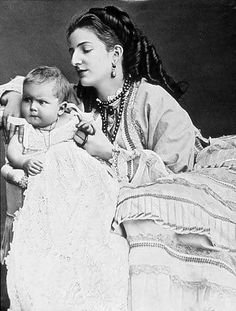 Her Royal Highness Margherita,  Princess of Piedmont with son, Prince Vittorio Emanuele of Savoy