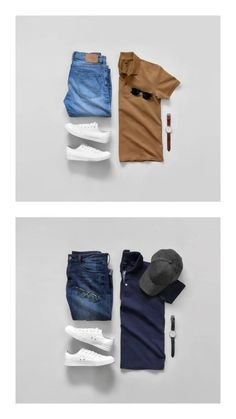 Looking for smart polo shirt outfits? Try these two amazing outfit ideas. Mens Casual Dress Outfits, Polo Shirt Outfits, Formal Men Outfit, Stylish Mens Outfits, Smart Casual Men, Business Casual Men, Herren Outfit, Mens Clothing Styles, Shirts