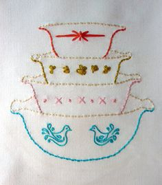 Vintage Bowls Embroidery Pattern. Vignette by thestoryofkat