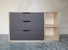 Plywood bedroom drawer unit with lino fronts and open shelves. Made in New Zealand