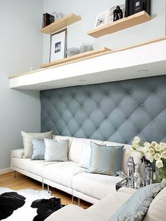 """Fashionable upholstered walls in Parisian salons inspired freelance fashion and interior designer Kerri Gutekunst and her husband, Brent, to create their own """"padded room."""" After a vacation to the haute couture mecca, Kerri whipped up this luxury treatmen Upholstered Walls, Padded Wall, Home Decoracion, Living Spaces, Living Room, Wall Treatments, My New Room, Home Projects, Upholstery"""