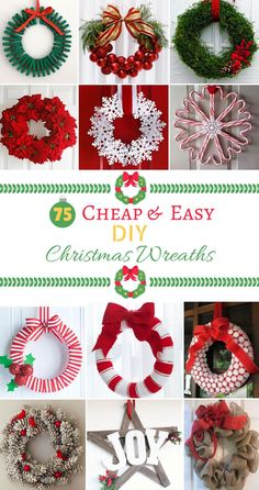 75 Cheap & Easy DIY Christmas Wreaths Homemade Christmas, Christmas Diy, Christmas Wreaths, Christmas Door Decorations, Handmade Decorations, Christmas Swags, Holiday Burlap Wreath, Christmas Makes, Christmas Garlands