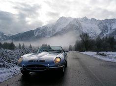 Jaguar E-Type Open Two Seater (Series I)-Whitehorse Mountain, North Cascades, Washington Top Sports Cars, British Sports Cars, Sport Cars, Retro Cars, Vintage Cars, North Cascades, Jaguar E Type, Train Car, Car In The World