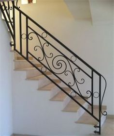 Wrought Iron Stair Railing, Iron Staircase, Interior Staircase, Staircase Railings, Iron Window Grill, Balcony Grill, Balcony Railing Design, Pantry Design, House Stairs