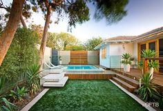 OFTB Melbourne landscaping, pool design & construction project - plunge pool, water feature wall, pool deck inc. bench, raised pool lounge, ...