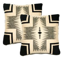 2 pillow covers made with genuine Pendleton fabric, Wool Throw Pillow, Navajo, Southwestern Design, Black Beige Cream, 16 x 16