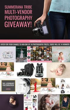 Enter to win one of 14 prizes in our huge photography giveaway! Prizes include camera bags, photography props, photography courses and Photoshop memberships, boutique clothing, studio backdrops, camera straps and more.