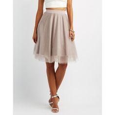 Charlotte Russe Tulle Full Midi Skirt ($27) ❤ liked on Polyvore featuring skirts, mauve, layered skirt, high-waist skirt, midi skirt, layered tulle skirt and elastic waist skirt
