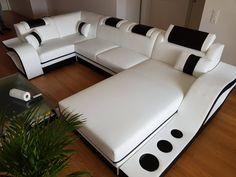 Divani Casa Massimo - Contemporary Bonded Leather Sectional Sofa With Light - myriaddecor Lounge Design, Corner Sofa Design, Corner Sofa Set, Living Room Sofa Design, Canapé Design, Sofa Set Designs, Sofa Furniture, Furniture Design, Leather Sectional Sofas