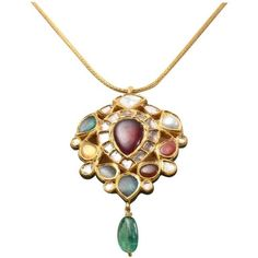 Preowned Magnificent Reversible Indian Nava Ratna Gold Pendant... ($5,800) ❤ liked on Polyvore featuring jewelry, necklaces, multiple, pendant necklaces, gold pendant necklace, indian necklaces, blue pendant necklace, pendant necklace and floral necklace