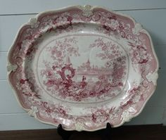 Huge Antique Staffordshire Red Transferware Turkey Platter Chinese Fountains