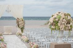 Chic, Spring wedding ceremony on the beach at The Seagate Beach Club | The Seagate Hotel & Spa in Delray Beach, Florida