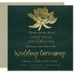 GLAMOROUS GOLD DARK GREEN LOTUS FLORAL WEDDING CARD #weddinginspiration #wedding #weddinginvitions #weddingideas #bride