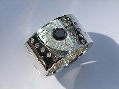 Mens Chunky Diamond Ring 150ct Black Diamond White by DOGSTONE, £2,500.00