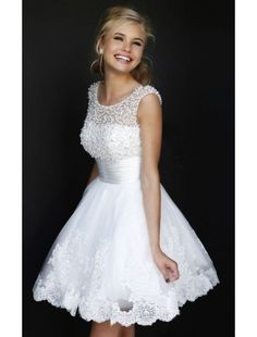 Beaded Scoop Neckline White Lace Homecoming Dress and Short Prom Dress