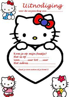 uitnodiging hello kitty feest