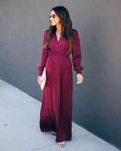 Deep V Long Sleeve Swing Dress – Stylnbo Red Long Sleeve Dress, Maxi Dress With Sleeves, The Dress, Long Ball Dresses, Short Dresses, Sexy Maxi Dress, Sexy Dresses, Swing Dress, 1 Piece
