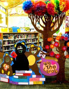 Cardboard Photo Op Library Display Idea - amazing!