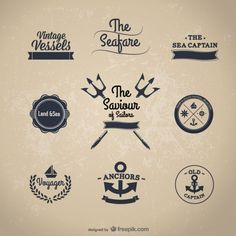 Free classic nautical stickers Vector