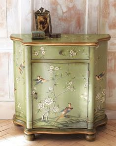 Delightful And Feminine Hand Painted Venetian Small Chest Of Drawers (or  Single Nightstand) From The 1940u0027s In Green, Cream And Silver Leaf.