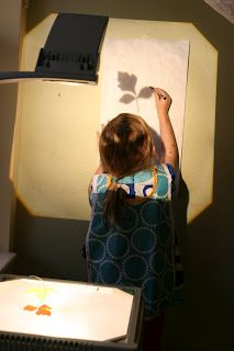 quiet room and overhead projector---leaves, shapes, etc.
