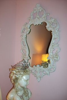 vintage shabby FRENCH Rococo MIRROR - So chic - Fleur de Lis and ROSES- Regency Glam - barbola style