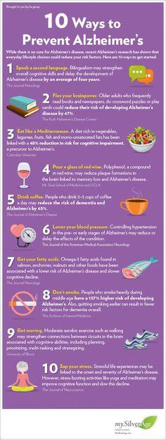 10 Ways to Prevent Alzheimer's #alzheimers #tgen #mindcrowd www.mindcrowd.org