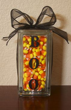 Halloween candy corn centerpiece OR guess how many candy corn game
