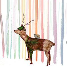 Rainbow forrest Art Print by Katiemarie