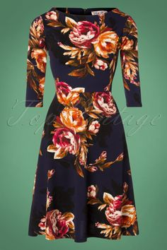 0e00829a53514b Vintage Chic for TopVintage 50s Macie Floral Swing Dress in Midnight Blue