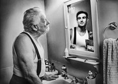 'Mirrors' by Tom Hussey. Hussey photographed elderly people with their younger reflections in mirrors. Mirror Photography, Reflection Photography, Portrait Photography, Photography Sketchbook, Reflection Art, Photography Bags, Photography Gallery, Narrative Poetry, Foto Mirror