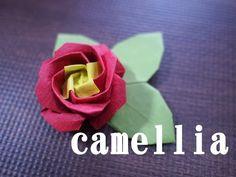 【折り紙】椿(つばき)の折り方(How to make a camellia) - YouTube